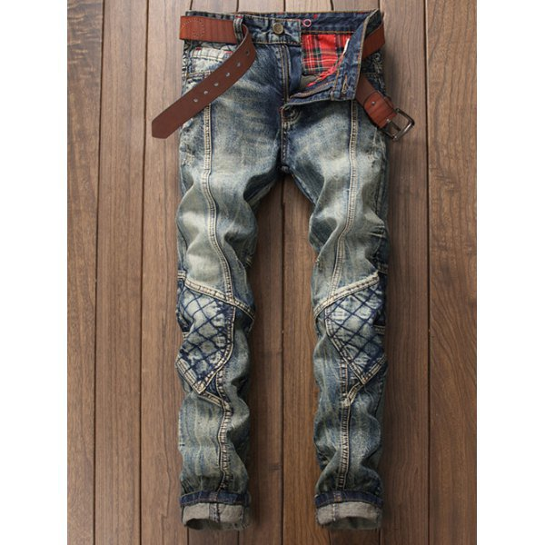 Stitching Rhombus Paneled Zipper Fly Jeans