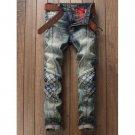 Stitching Rhombus Paneled Zipper Fly Jeans