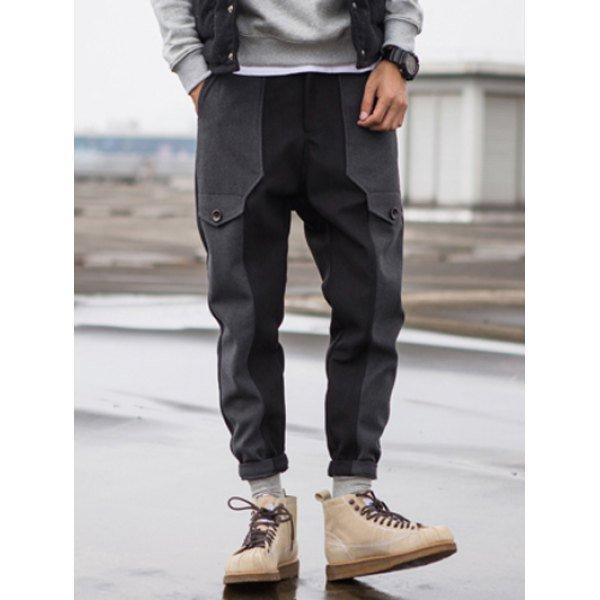 0 Zip Fly Wool Blend Panel Jogger Pants