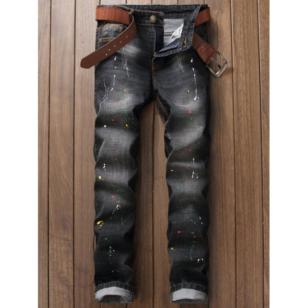 Scratched Pocket Rivet Paint Splatter Jeans