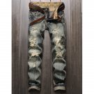 Frayed Zipper Fly Straight Leg Distressed Jeans