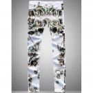 Zipper Fly Flowers Print Straight Leg Jeans