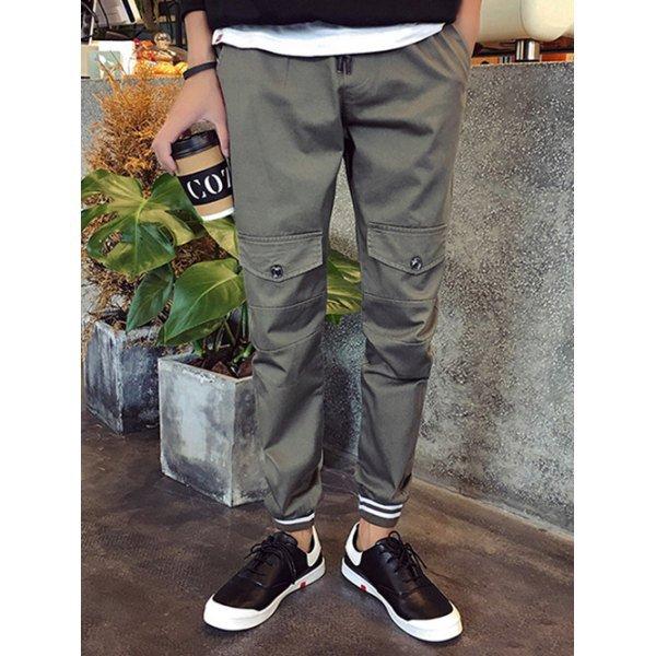 Lace-Up Pocket Design Beam Feet Jogger Pants For Men