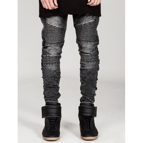 Skinny Zipper Fly Moto Jeans