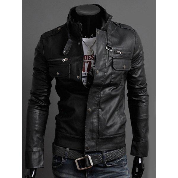 Stand Collar PU-Leather Belt Embellished Epaulet Long Sleeve Jacket For Men