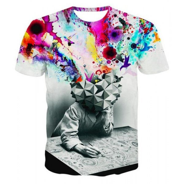 Watercolor Abstract Print Round Neck Short Sleeve Men's