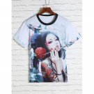 Flower and Beauty Print Round Neck Short Sleeves 3D T-Shirt For Men