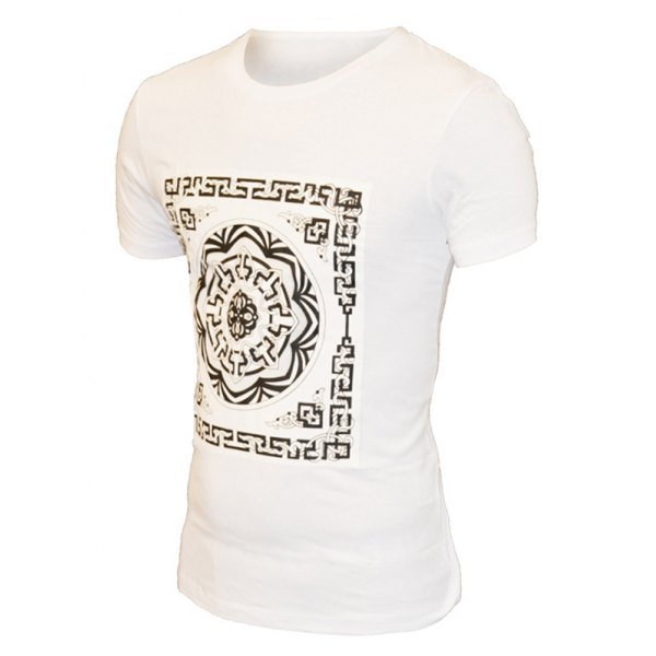 Geometric Flower Print Pattern Round Neck Short Sleeve T-Shirt For Men