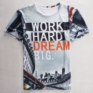 Round Neck Letters Print Building Pattern Short Sleeve Men's T-Shirt
