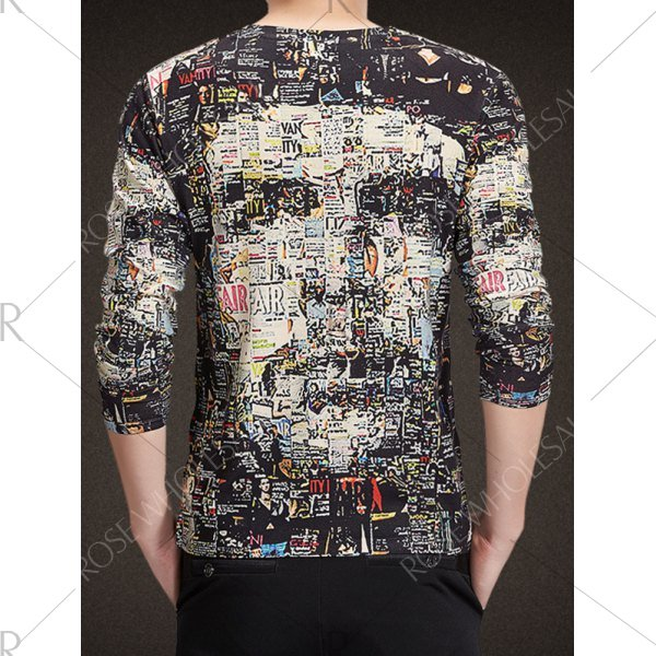 V-Neck Long Sleeve 3D Face Print T-Shirt