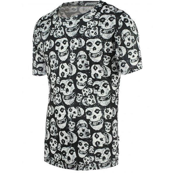 0 Fashion Tiny Skulls Print Round Neck Short Sleeve Tee For Men