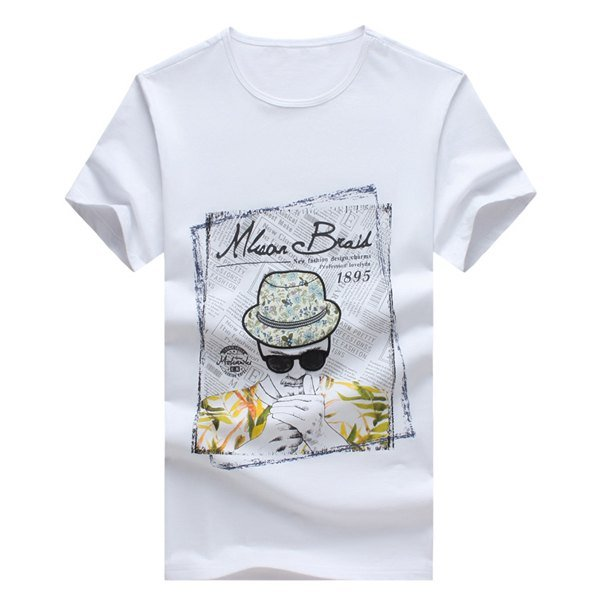 Cartoon Figure and Letters Printed Round Neck Short Sleeve T-Shirt For Men