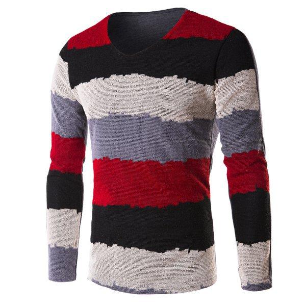 V-Neck Grid Splicing Color Block Stripe Long Sleeve T-Shirt For Men