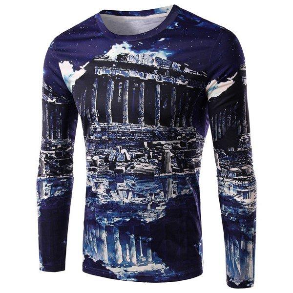 3D Ruins Print Round Neck Long Sleeve Men's T-Shirt