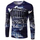 3D Ruins Print Round Neck Long Sleeve Men's T-Shirt