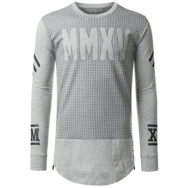 Slim Fit Side Zipper Design Long Sleeves Letter Printed T-Shirt For Men