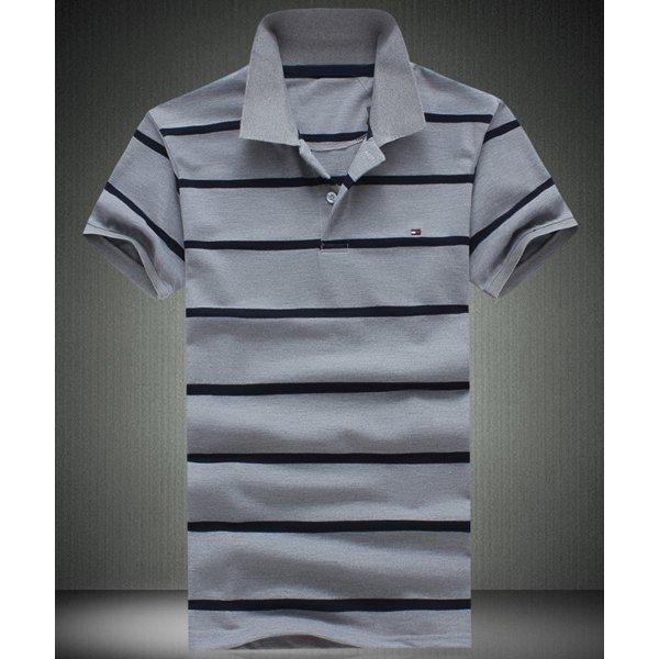 0 Slimming Short Sleeves Striped Polo T-Shirt For Men