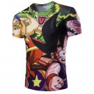 0 3D Japanese Cartoon Figure Printed Round Neck Short Sleeve T-Shirt For Men