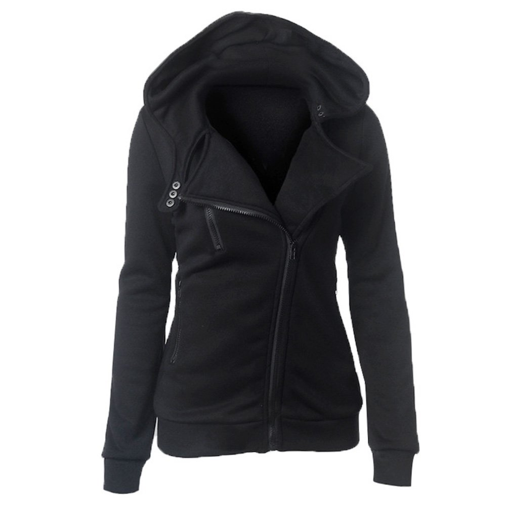 Collar Zipper Button Design Women Hoodie