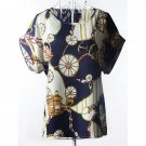 Plus Size Scoop Neck Wheel Pattern Dress