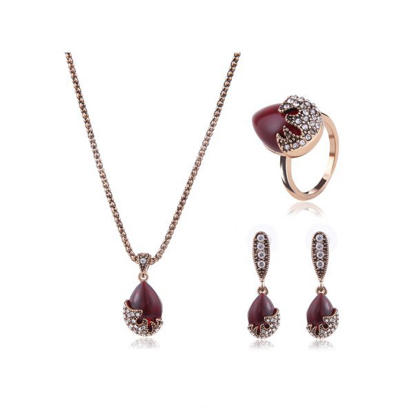 Faux Ruby Rhinestone Wedding Jewelry Set
