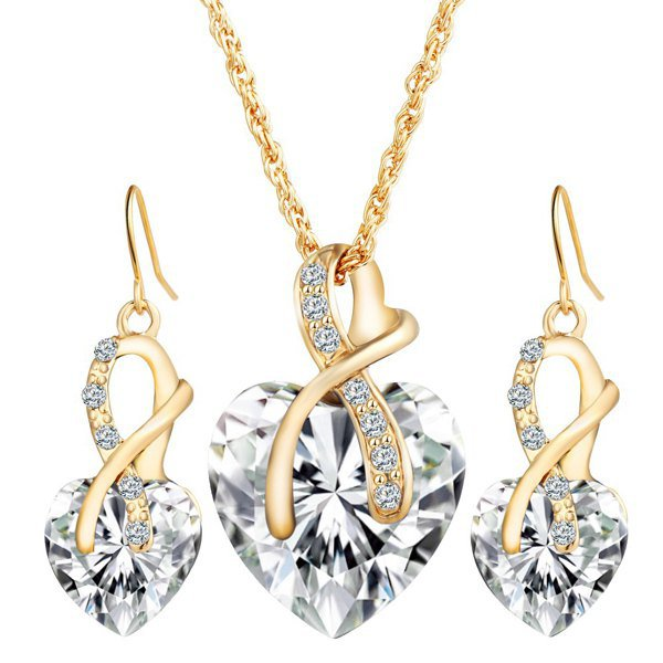 Faux Crystal Rhinestone Heart Wedding Jewelry Set