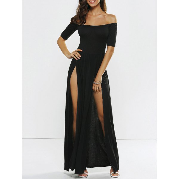 High Slit Off Shoulder Evening Dress