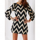 hic Color Block Zig Zag Printed Dress For Women