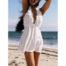 Women's Stylish Plunging Neck White Sleeveless Lace Dress