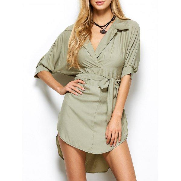High Low Surplice Shirt Dress