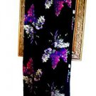 LONG BLACK WRAP SKIRT REVERSABLE HYACINTHS PATTERN SIZE S/M