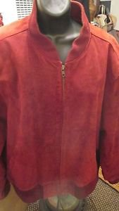 HILL AND ARCHER RED SUEDE ZIPUP MENS JACKET SIZE 46