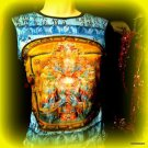 VIBE URBAN T-SHIRT SILKSCREENED BUDDAH LOTUS LONGSLEEVED  SIZE S-M