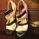 DP STILETTOS BEIGE/BLACK STRAPPY WITH RED HEELS SIZE 9