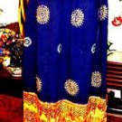 ORNATE DECORATED NAVY ORANGE/GOLD SKIRT MADE IN INDIA SIZE M