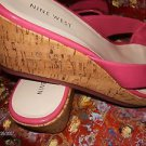 NINE WEST CORK PLATFORM PINK PATENT LEATHER  SLIP-ON SANDALS SIZE 10 M