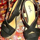 QUPID STRAPPY BAMBOO WEDGE PLATFORMS BLACK SUEDESIZE 6 M