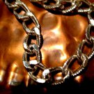 "BIKER,WATCH,NECKLACE TEXTURED RHODIUM SILVER CHAIN  18"" LONG"