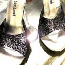 NO BOUNDRIES CINDERELLA SLIP ON GLASS HEELS SIZE 8.50 BLACK GLITTER.