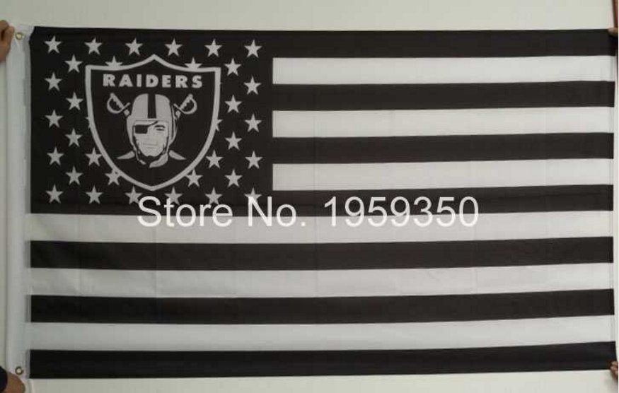 Los Angeles Oakland Raiders Flag polyester 3'x5' flag with usa flag