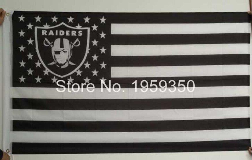 Los Angeles Oakland Raiders Flag polyester 3'x5' flag with usa flag