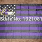 Baltimore Ravens black and purple background with stars and stripes Flag 3FTx5FT