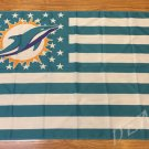 Miami Dolphins Flag with Star and Stripe 3x5 FT Banner 100D Polyester Flying Flag