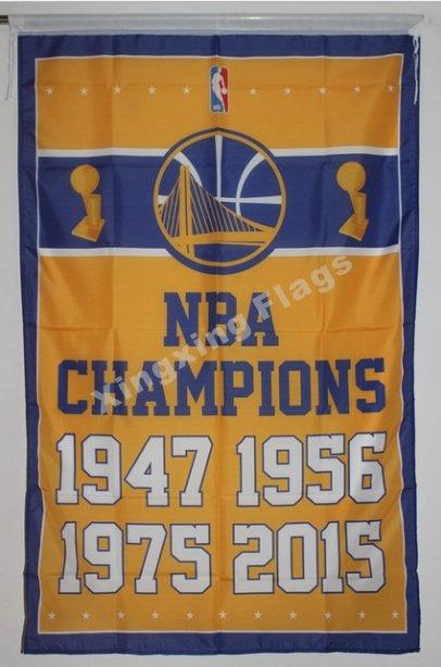 Golden State Warriors World Champions Flag 3ft x 5ft Polyester NBA Banner flag style 2