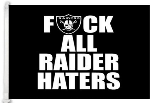 Oakland Raiders F uck all raider haters car flag 12x18 inches double sided 100D Polyester