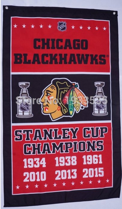 Chicago Blackhawks champion vertical flag 3x5 FT Banner 100D Polyester NHL Flag