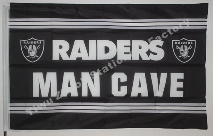 Oakland Raiders man cave flag 3ftx5ft Banner 100D Polyester Flag
