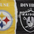 Pittsburgh Steelers vs Oakland Raiders House Divided Rivalry Flag 90x150cm