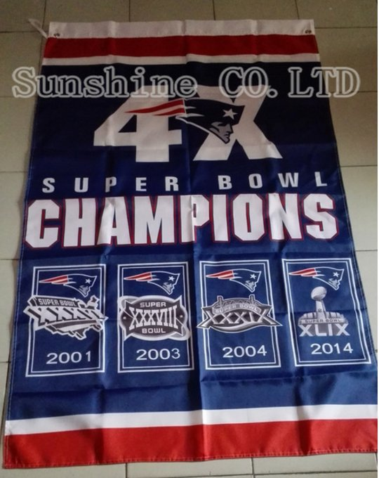 New England Patriots 4x champion ship flag 3ftx5ft Banner 100D Polyester Flag