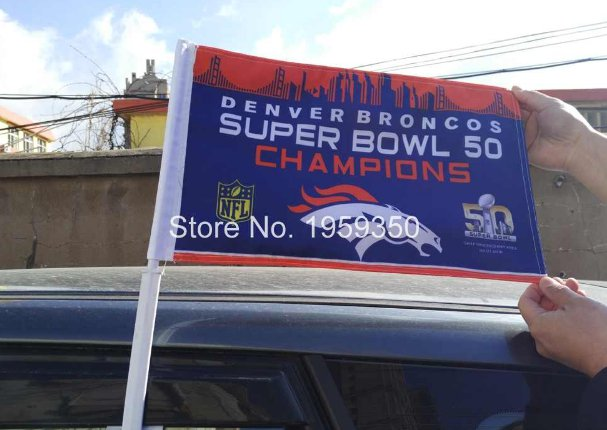 Denver Broncos Super Bowl Champions car flag 12x18inches double sided 100D Polyester NFL